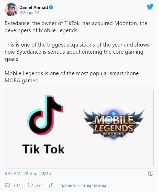 Компания ByteDance, владеющая TikTok, приобрела разработчика игр Moonton